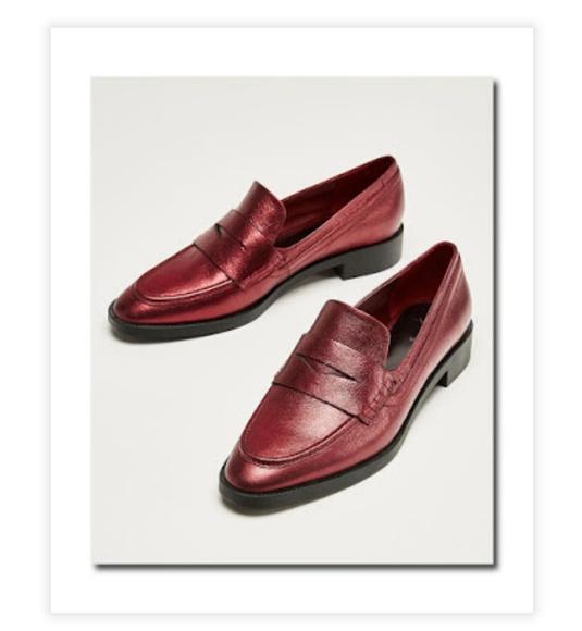 956802a882b Zara Woman red metallic leather penny loafer 7.5-8.  M 5b110ec6c2e9fe434b7ea246